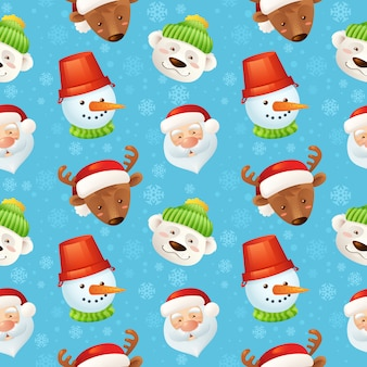 Christmas characters seamless pattern with santa claus deer snowman polar bear