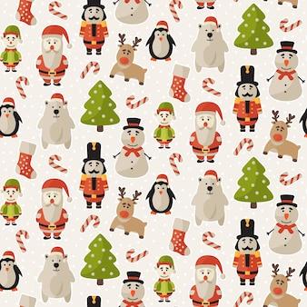 クリスマスのキャラクターのシームレスなパターン