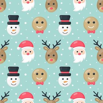 Рождественские персонажи бесшовные модели