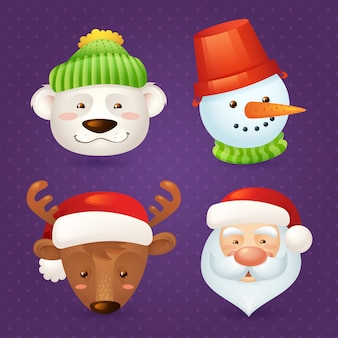Christmas characters set isolated with santa claus, deer, snowman and polar bear isolated vector illustration