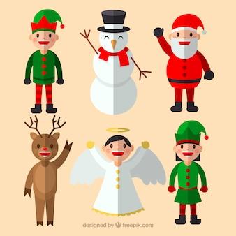Рождественские персонажи с плоским дизайном