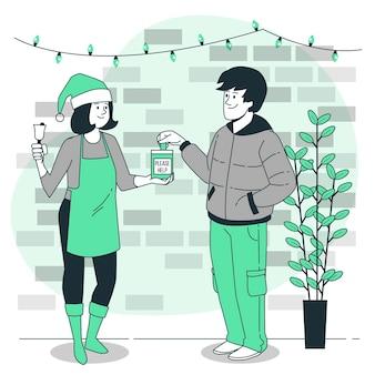 Illustrazione di concetto di carità di natale