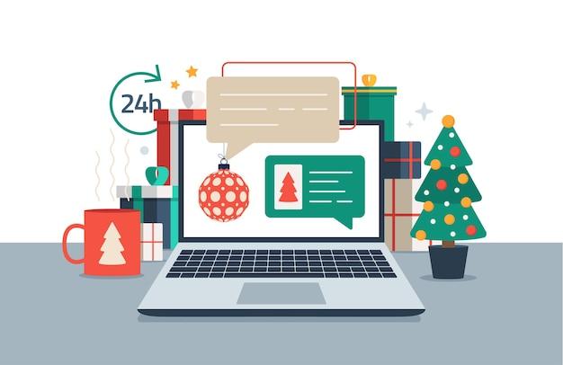 Рождество в чате на ноутбуке
