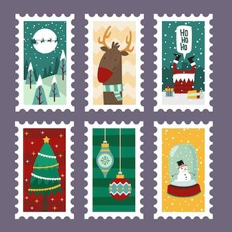 Рождественские веселые марки с праздничными символами в плоском дизайне