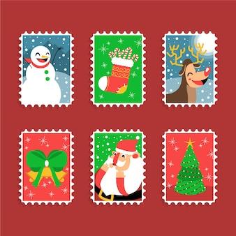 Рождественские веселые марки с праздничными символами