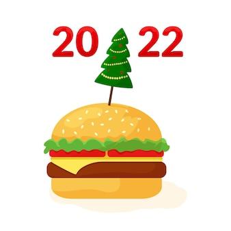 크리스마스 치즈버거. 패스트 푸드. 새 해에 대 한 휴일 배너입니다. 축하 그림