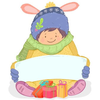 Christmas child character holding blank banner