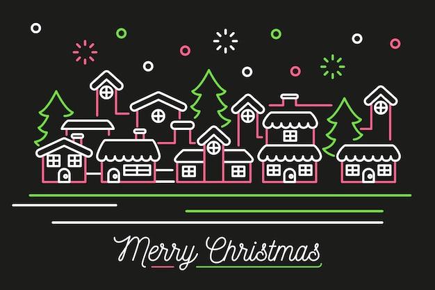 アウトラインスタイルのクリスマス都市の背景