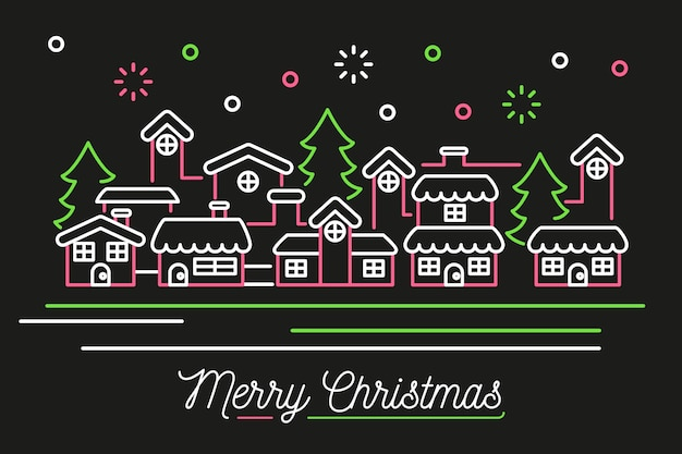 Christmas city background in outline style