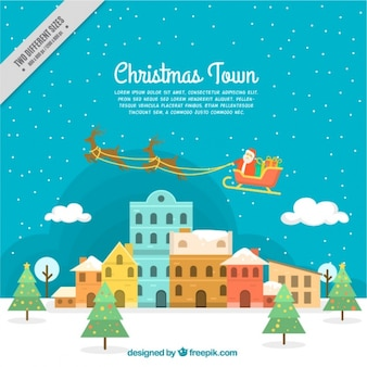 Christmas city background with santa clause on sledge
