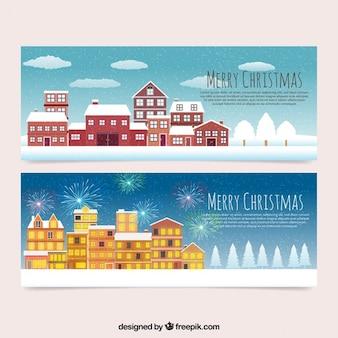 Christmas city banners