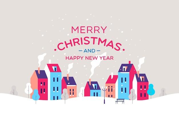 Рождественская открытка города снежная улица
