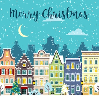 Christmas city street. winter landscape. snowy city urban composition. merry christmas card