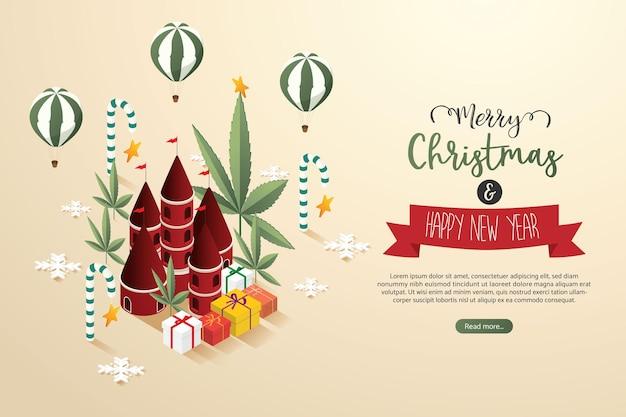 クリスマスシティおもちゃワンダーランド幻想的なギフトバルーンマリファナの葉の木メリークリスマス