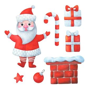 Рождественский клипарт с дедом морозом, подарками, конфетами, звездой, дымоходом, красного цвета.