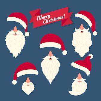 鼻と面白い白ひげを持つさまざまなサンタの帽子のクリスマスの服のコレクション。顔のマスクを祝うためのフラットスタイルのクリスマス要素