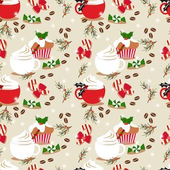 クリスマスコーヒーとカップケーキのシームレスなパターン。