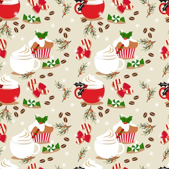Christmas coffe and cupcake seamless pattern.