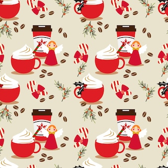 Christmas coffee seamless pattern.