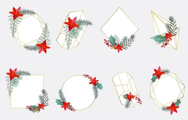 幾何学模様、花輪、花のクリスマスコレクションフレーム
