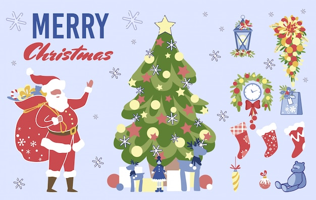 Christmas collection for greeting card, scrapbook