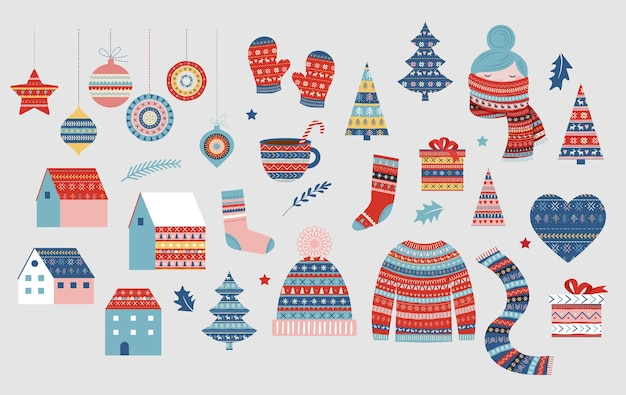 Christmas collection of illustrations, winter patterned elements. sweater, girl with scarf, knitted hat, decorations, village.