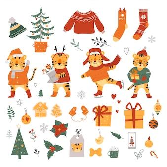 Рождественская коллекция. отдельный на белом фоне. векторная иллюстрация.