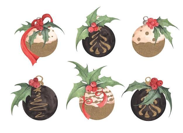 크리스마스 트리 볼의 크리스마스 컬렉션입니다. 수채화 그림입니다.
