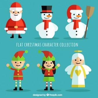 Рождественская коллекция символов в плоском дизайне