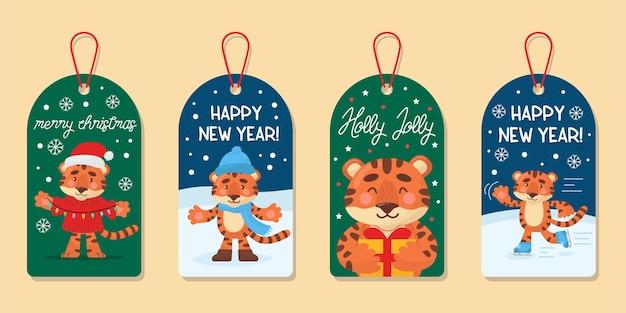 Рождественская коллекция милых тегов. этикетки с мультяшным забавным тигром. векторная иллюстрация.
