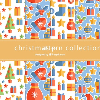 Christmas collection of patterns in flat design elements