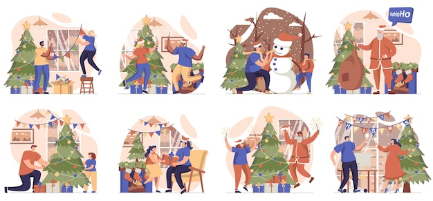 Christmas collection of scenes isolated people decorate festive tree and celebrate holiday at home