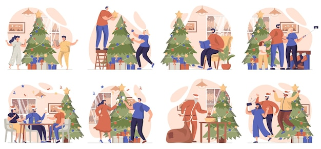 Christmas collection of scenes isolated people make snowman give gifts and celebrate holiday