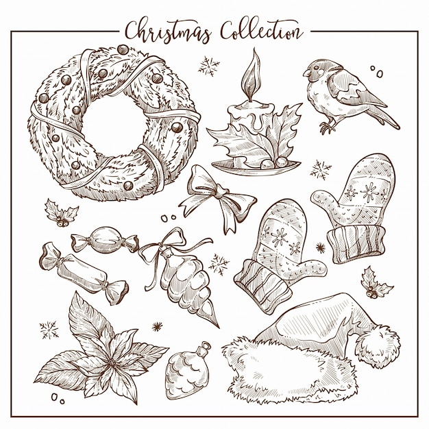 Christmas collection of symbolic traditional elements monochrome sketch outline .