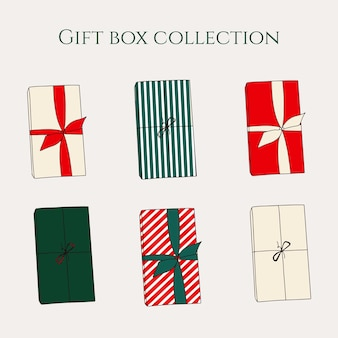 Christmas collection with different present box in wrapping paper and ribbon new year background