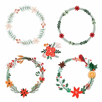 Christmas collection with floral wreaths
