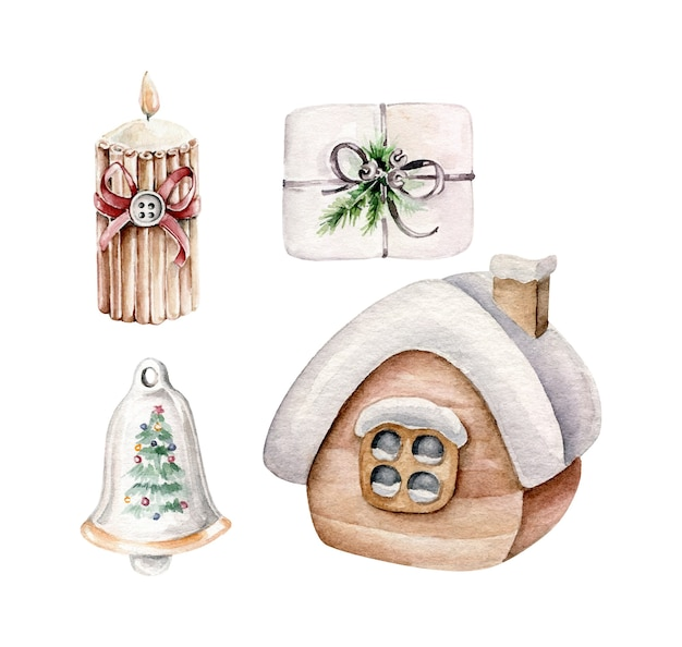 Christmas collection with house in snow,christmas present,bell,candle