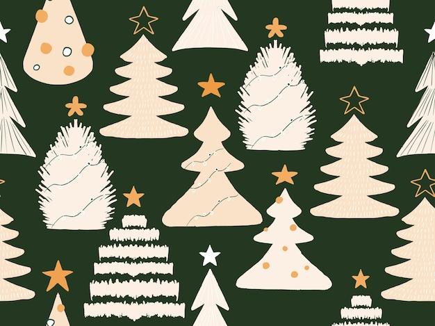 ホワイトフィットの木のシームレスなパターンのクリスマスコレクショントウヒと松の新年のパターン