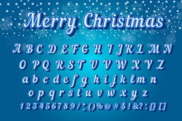Christmas colorful font modern typography. 3d alphabet slanted sans serif style for party poster.