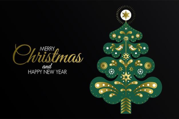 크리스마스 다채로운 인사말 카드, 소나무에 전통적인 북유럽 장식. 파티 포스터, 인사말 카드, 배너 또는 초대장. 우아한 휴가 초대.