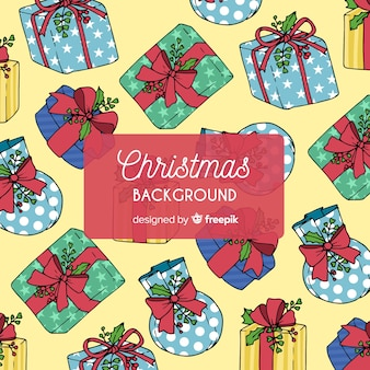 Christmas colorful presents pattern background