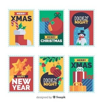 Christmas colorful stamp collection