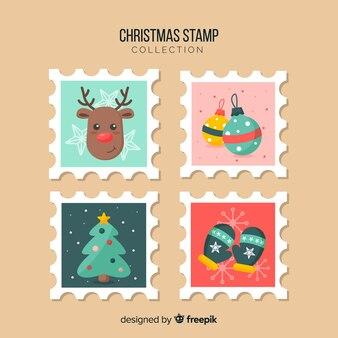 Collezione di francobolli colorati di natale