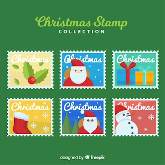 Christmas colorful stamps collection