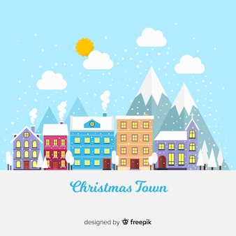 Christmas colorful village background