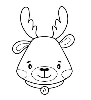 クリスマスの塗り絵やページ。クリスマス動物の黒と白のベクトル図