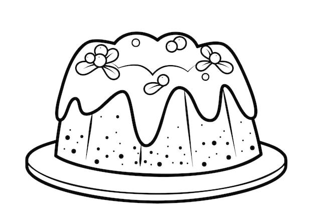 クリスマスの塗り絵やページ。クリスマスケーキの黒と白のベクトル図