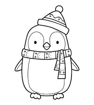 クリスマスの塗り絵やページ。クリスマスペンギンの黒と白のベクトル図