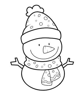 クリスマスの塗り絵やページ。クリスマス雪だるま黒と白のベクトル図