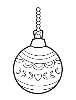 Рождественская книжка-раскраска или страница для детей. елочный шар черно-белые векторные иллюстрации